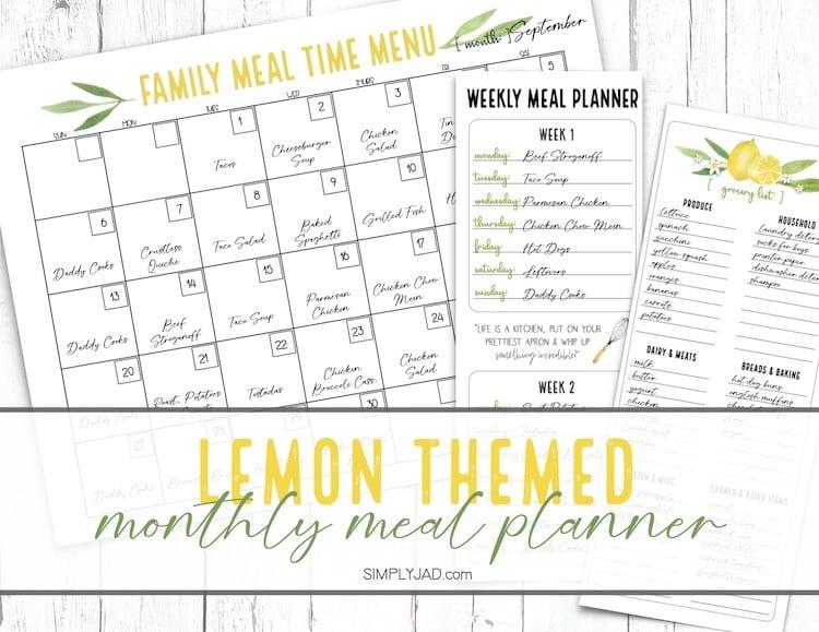 Lemon Kitchen Themed menu calendar and grocery shopping list printable for meal planningfor