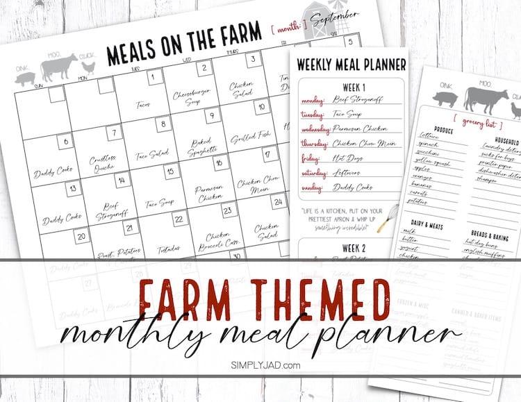 farm themed meal planning calendar and shopping list
