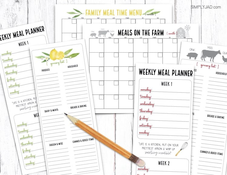 free meal planner and shopping list printables for menu planning