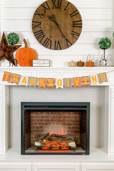 simple and cozy fall farmhouse fireplace mantle