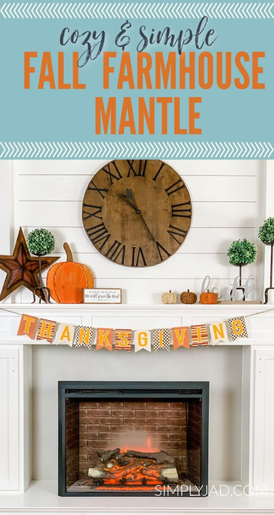 simple and cozy farmhouse fall mantle plus free printable thanksgiving banner