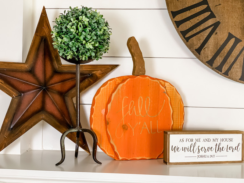 meaningful decor for fall farmhouse mantle
