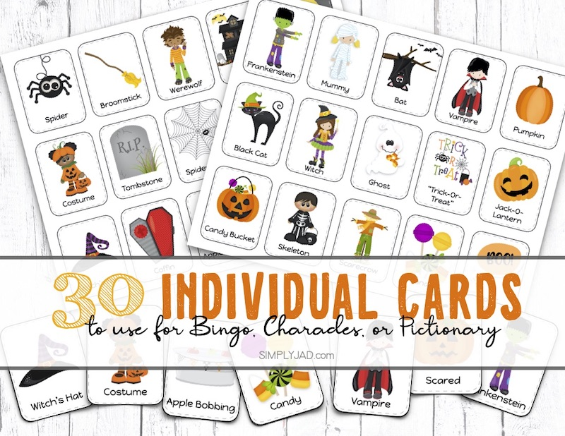 game cards for halloween charades, pictionary, and bingo