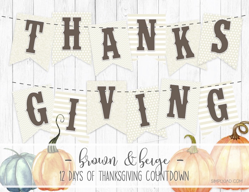 Free Printable Thanksgiving Banner with a Brown and Cream Beige color scheme