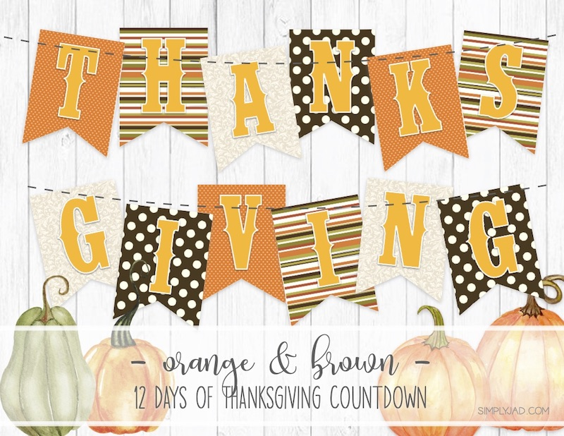 Free Printable Thanksgiving Banner with orange and brown color scheme