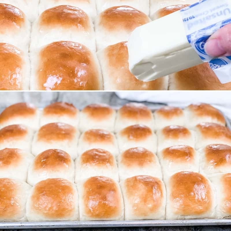 Use a butter stick to lightly brush butter onto the top of warm dinner rolls