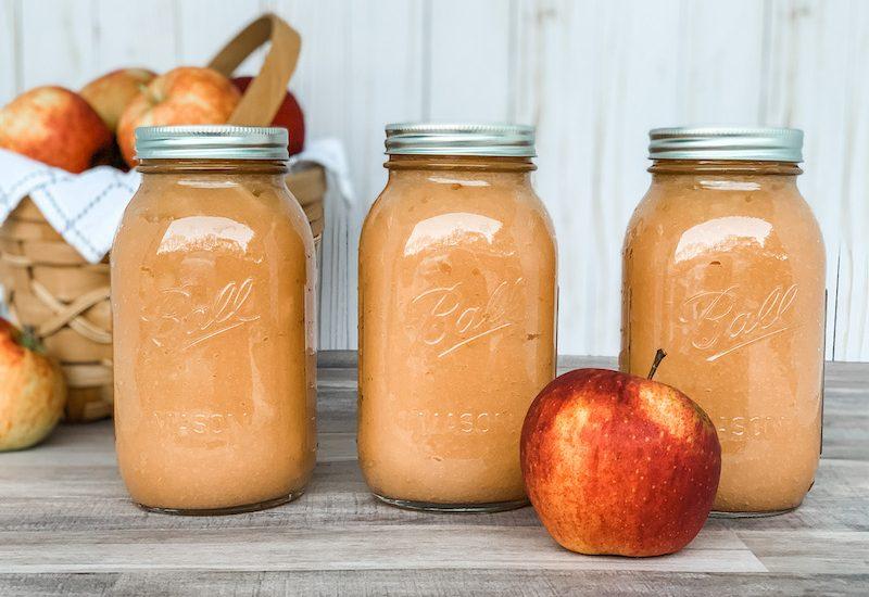 Homemade applesauce canned in quart mason jars