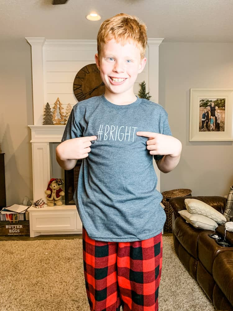 Merry and Bright words for customizing matching Christmas pajamas