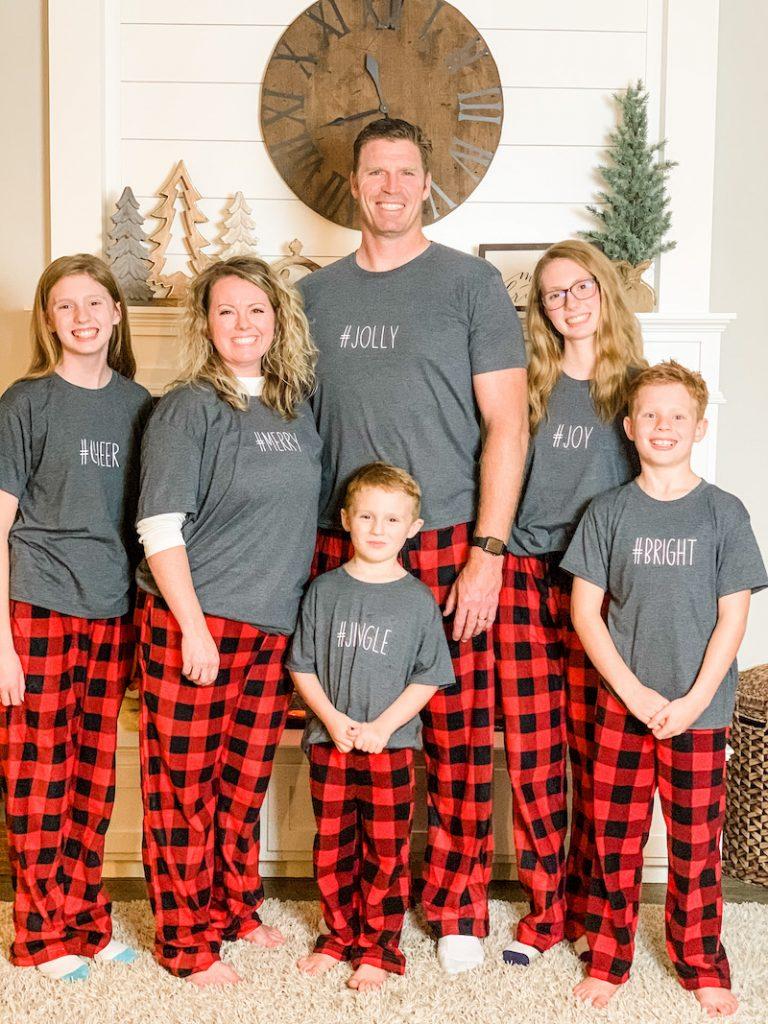 semi-homemade customized Christmas pajamas with iron-on vinyl