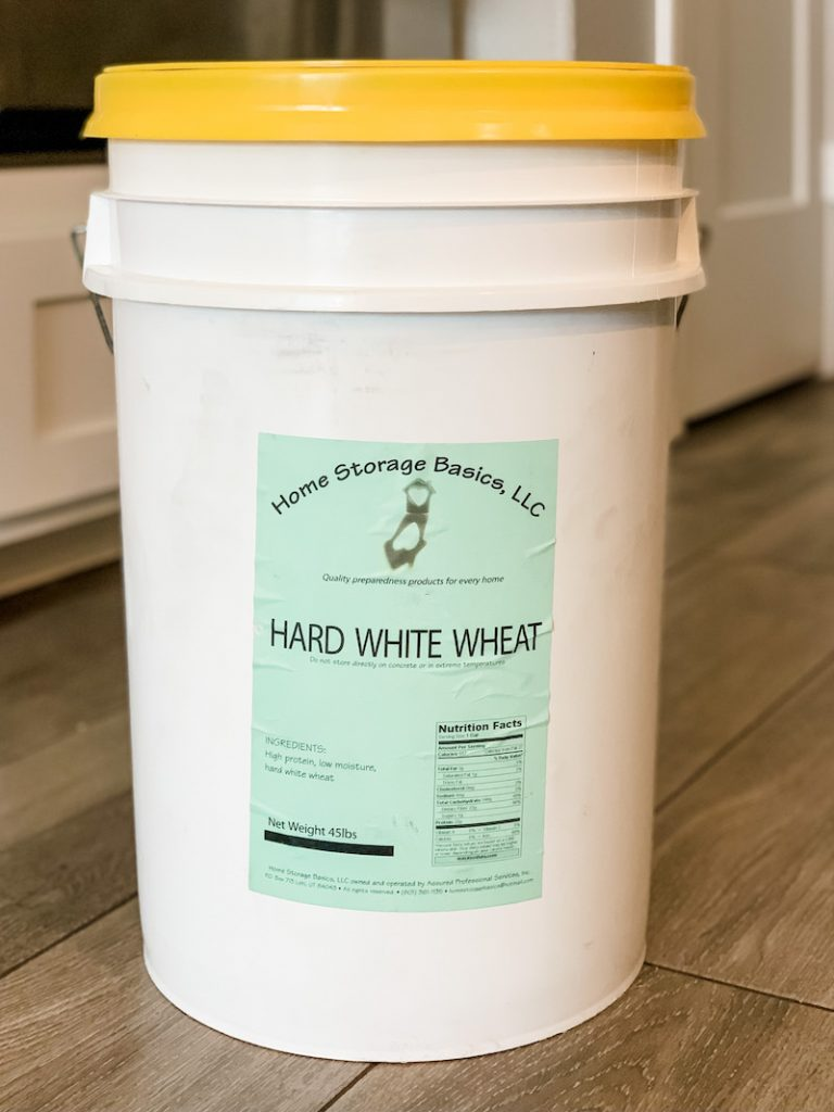 hard white wheat in a 5 gallon bucket for self-reliance food storage