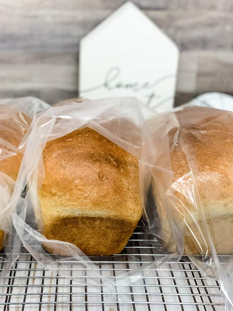 homemade whole wheat bread stored in plastic bag